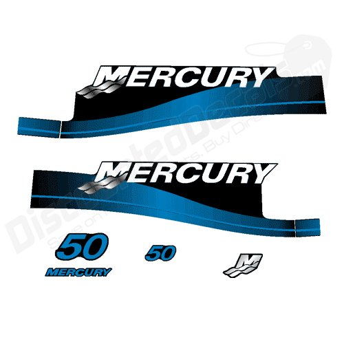 Mercury Outboard 50P Decal Kit Electric Stickers 2 Stroke 50 HP Blue 1999 -2006